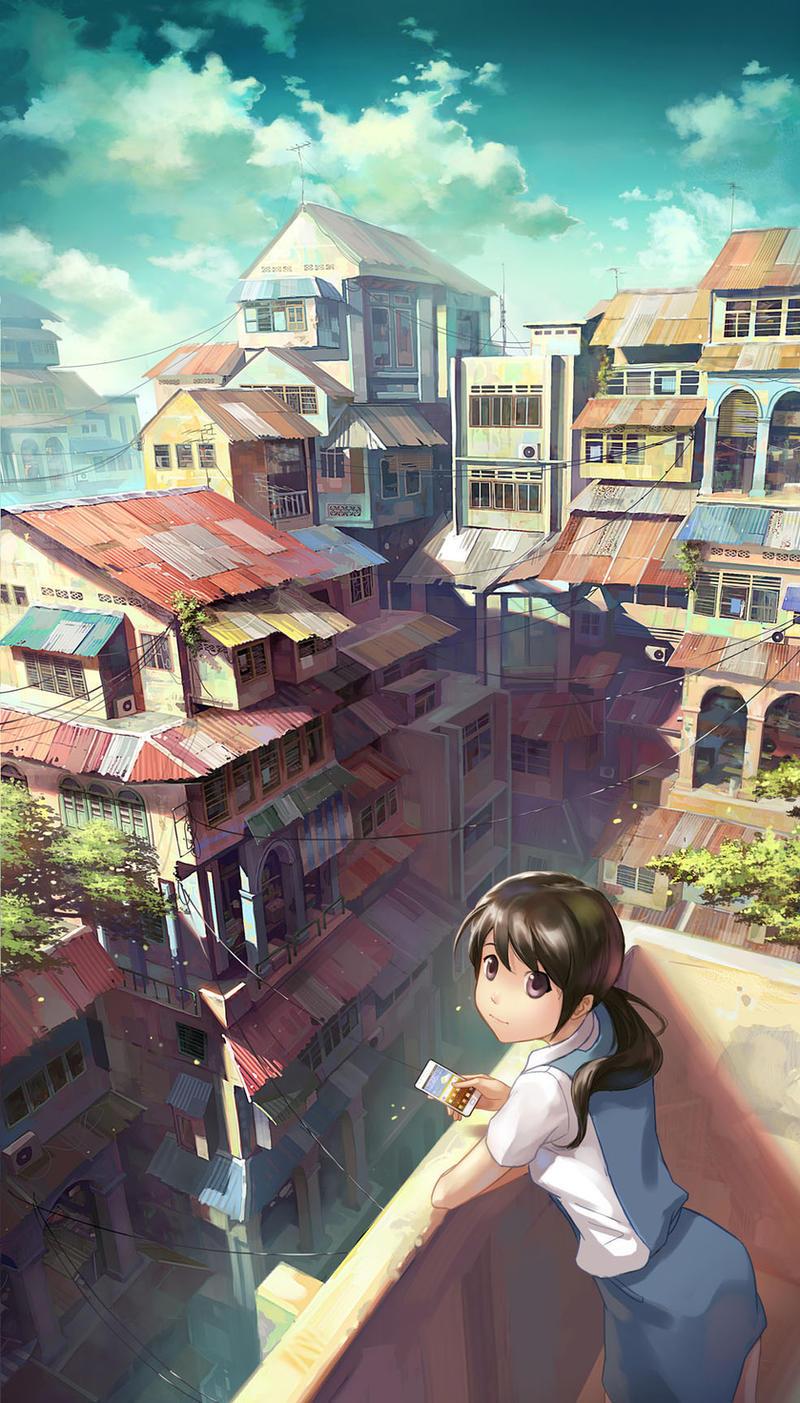 Girl on balcony by FeiGiap