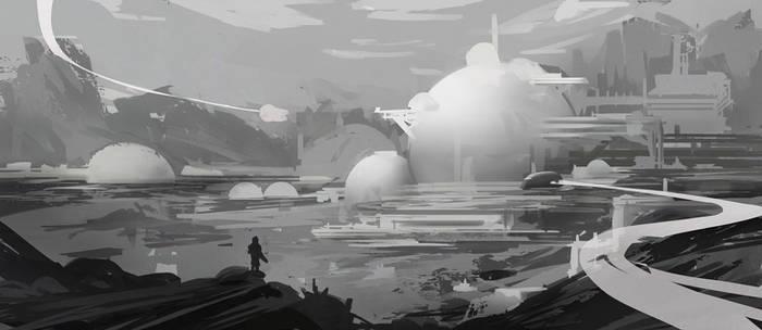 B/W enviroment sci-fi