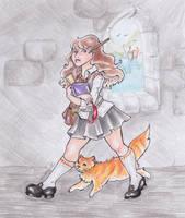 Hermione and Crookshanks by nickyflamingo