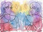 Galaxy Portraits Amelia and Ambrose by nickyflamingo