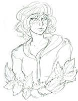 Monika bust sketch by nickyflamingo