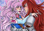 ACEO Juliet and Erza Scarlet by nickyflamingo