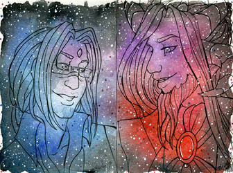 Galaxy Portrait Lucien and Lukel by nickyflamingo