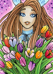 May Reward ACEO Esmeralda with Tulips by nickyflamingo