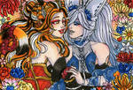 ACEO Valentines Ahri and Karma by nickyflamingo