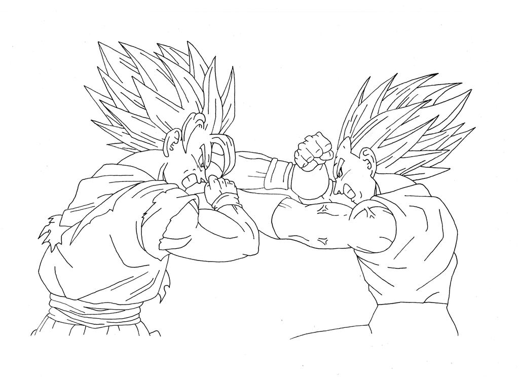 Line Art Vs Sketch : Esquisse goku vs vegeta by dbzdrawing on deviantart