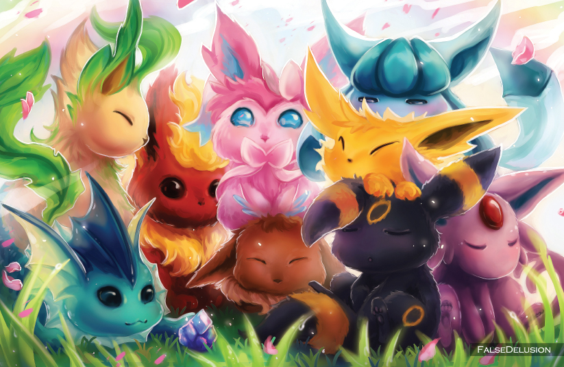Eeveelutionzzzz by FalseDelusion