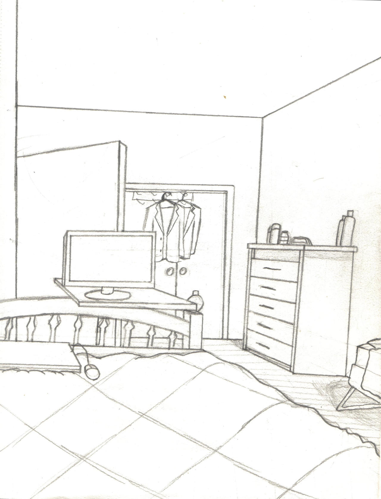 Bedroom Drawing: My Bedroom By Nosh59 On DeviantArt
