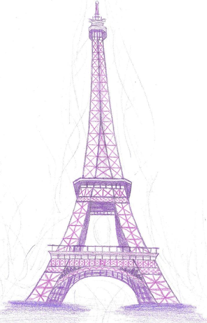 Line Art Eiffel Tower : Eiffel tower in purple by doncamatica on deviantart