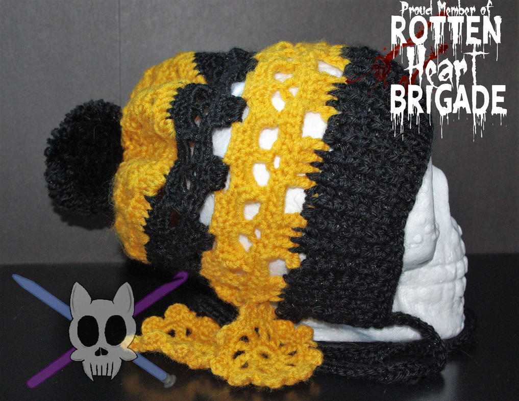 Black and Gold Skull Bonnet by AlleyKat666