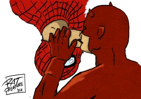 Marvel: Spidey+Daredevil kiss by ratcreature