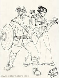 Marvel: Steampunk Maria Hill/Steve Rogers by ratcreature