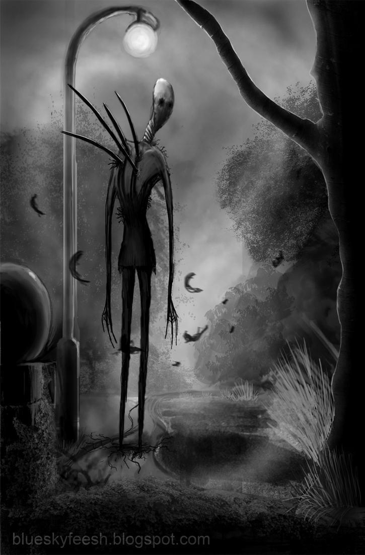 Slenderman Black and white by Ludjia