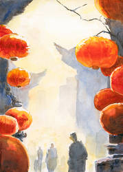 Chinese inspired watercolor painting