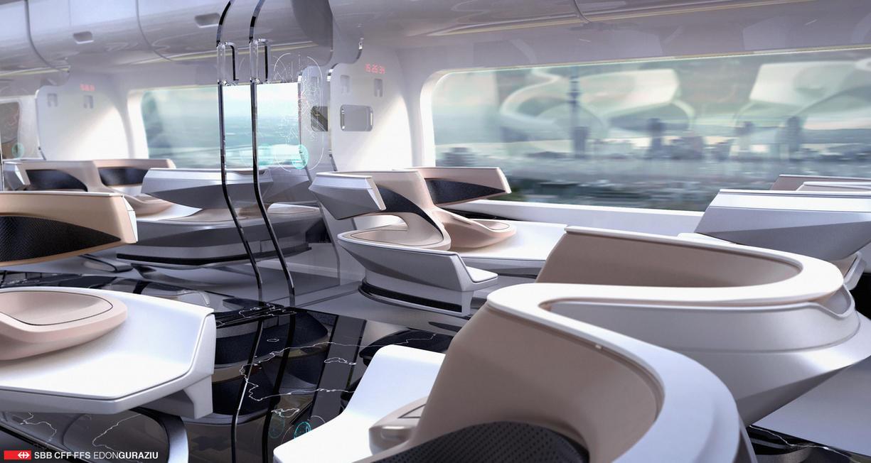 Futuristic Train Interior Design 2 By EdonGuraziu On