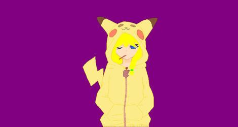 Me in Pikachu hoodie by lenaladybug