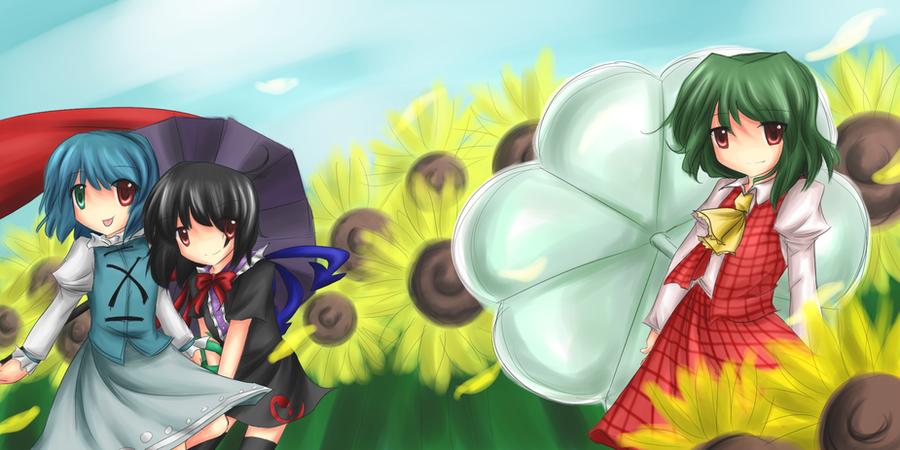 :.dream in a sunflower field.: by mewarrow