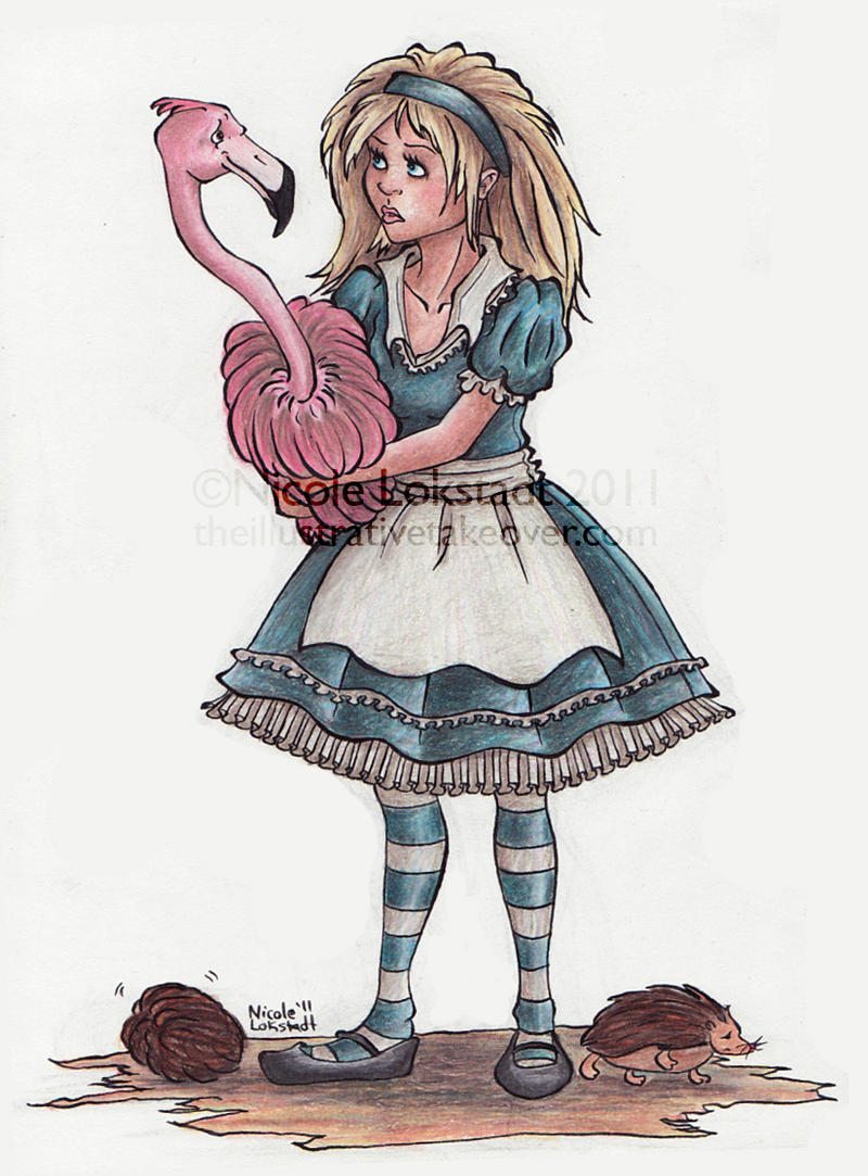 alice and the flamingo by tinyq on deviantart