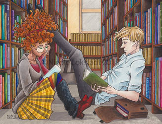 In the Library on a Rainy Day by TinyQ