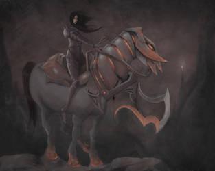 Knight in Blackest Armor by rhinosarus