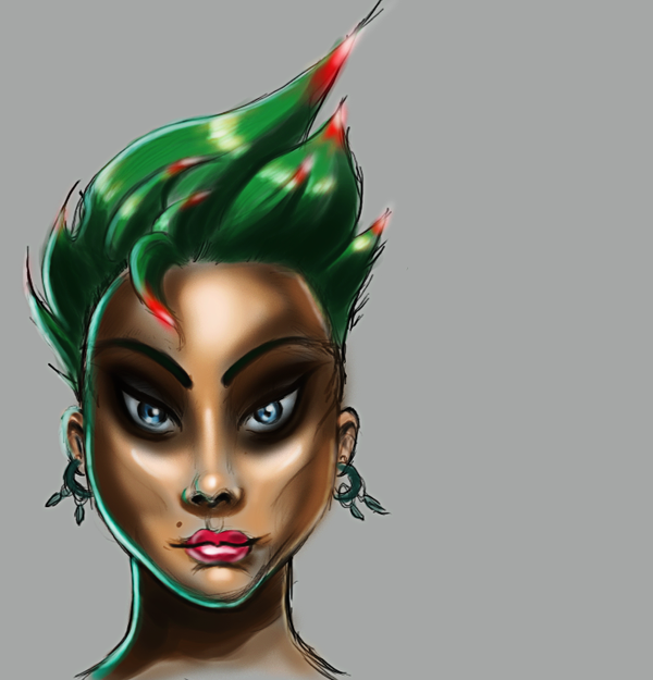 greeen hair girl by rapxic