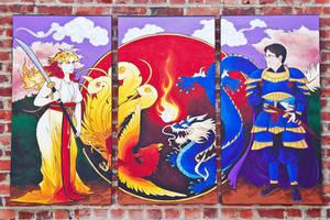 Dragon and Phoenix Triptych