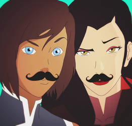 Korrasami selfie + Mustaches edited by StaroSeren