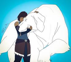Korra and Naga by StaroSeren