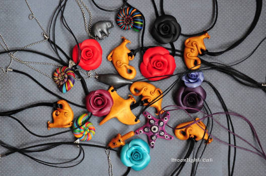 Hand sculpted pendants