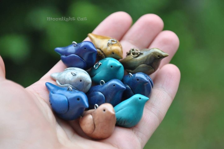 Bird pendants by MoonlightCatHandmade