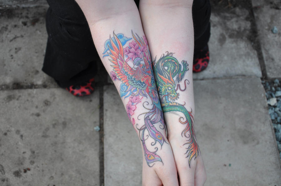 Dragon and Phoenix Tattoos by Glorfindel on deviantART