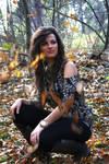 Cat girl in autumn