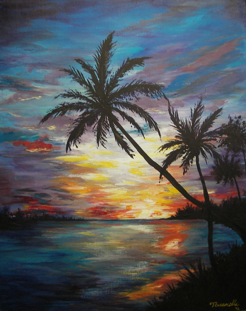 tropical sunset painting by cust0m on deviantart