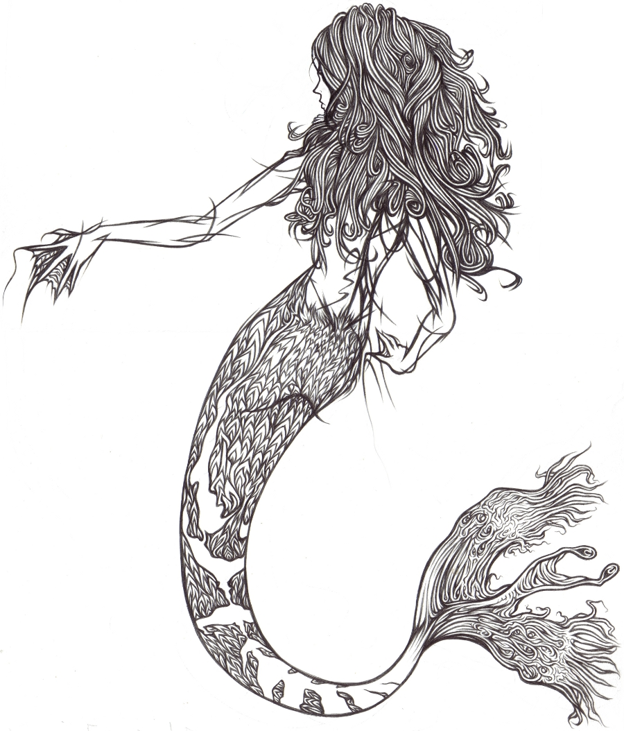 Line Drawing Mermaid : Mermaid line art by demik on deviantart