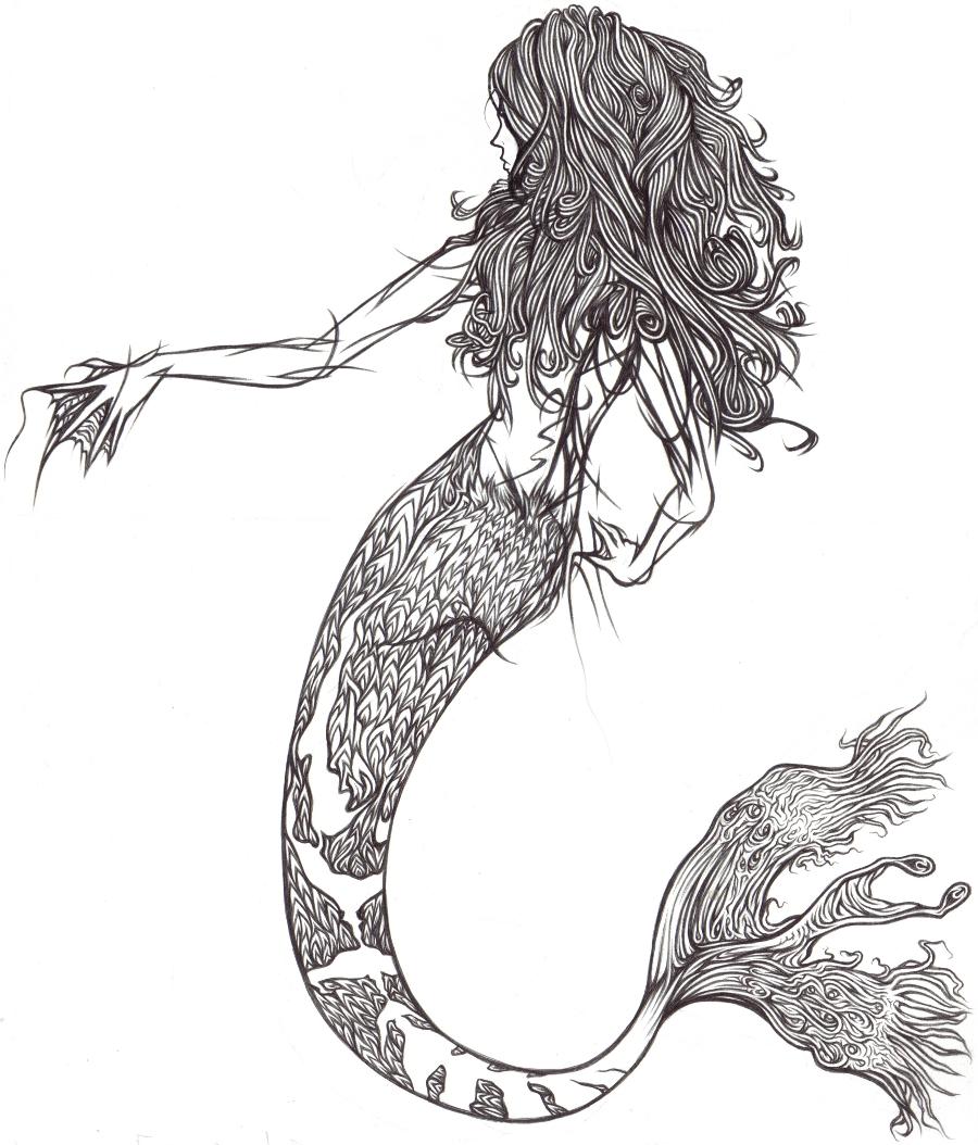How to draw a mermaid tutorial | Mermaid drawings, Mermaid ... |Mermaid Line Drawing