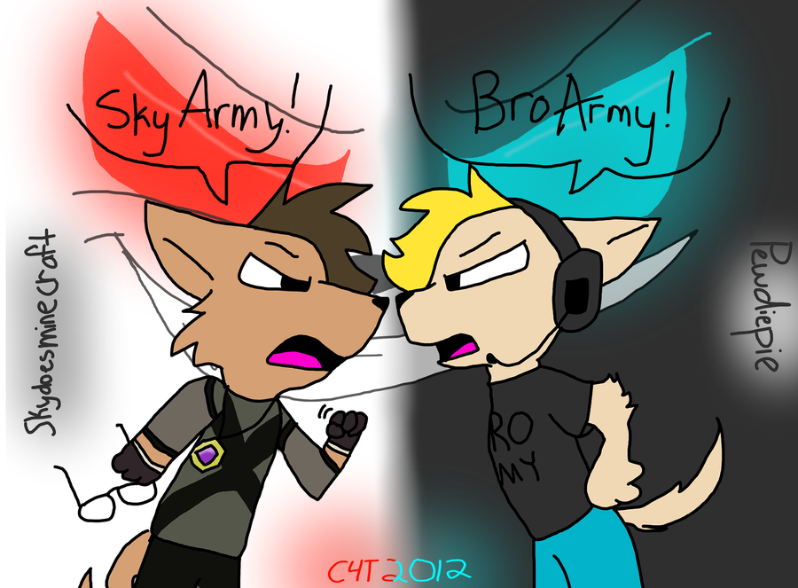 Skydoesminecraft vs. Pewdiepie by TheBlackwhiteC4T