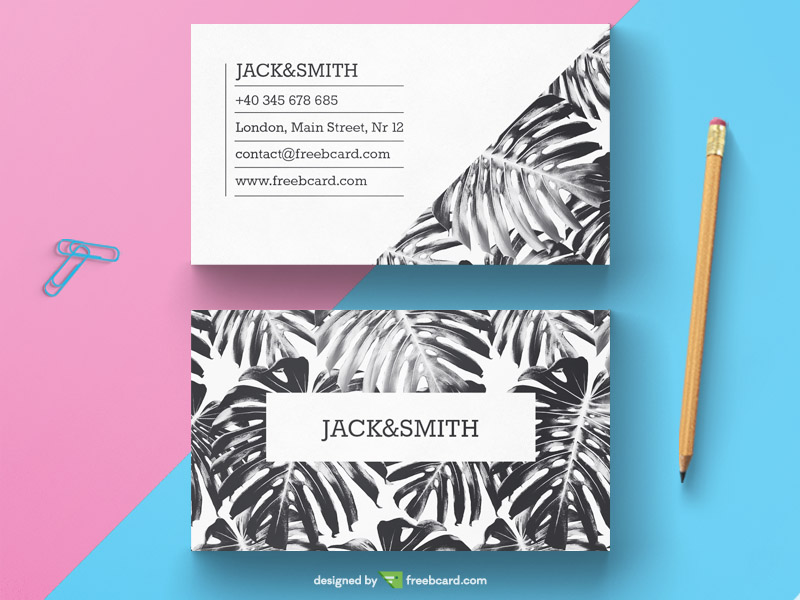 Free black and white business card template by freebcard