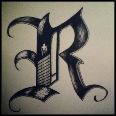 Calligraphy R R freestyle calligraphy by