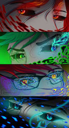 EYES - Darkiplier, Antisepticeye, Googie, Cryaotic by PolarisDraws