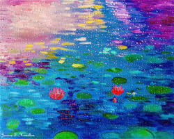 Lotus Pond Through Raindrops on Window - Jessica H by JessicaTHamilton