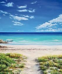Tranquil Beach, Oil on Canvas, Jessica Hamilton
