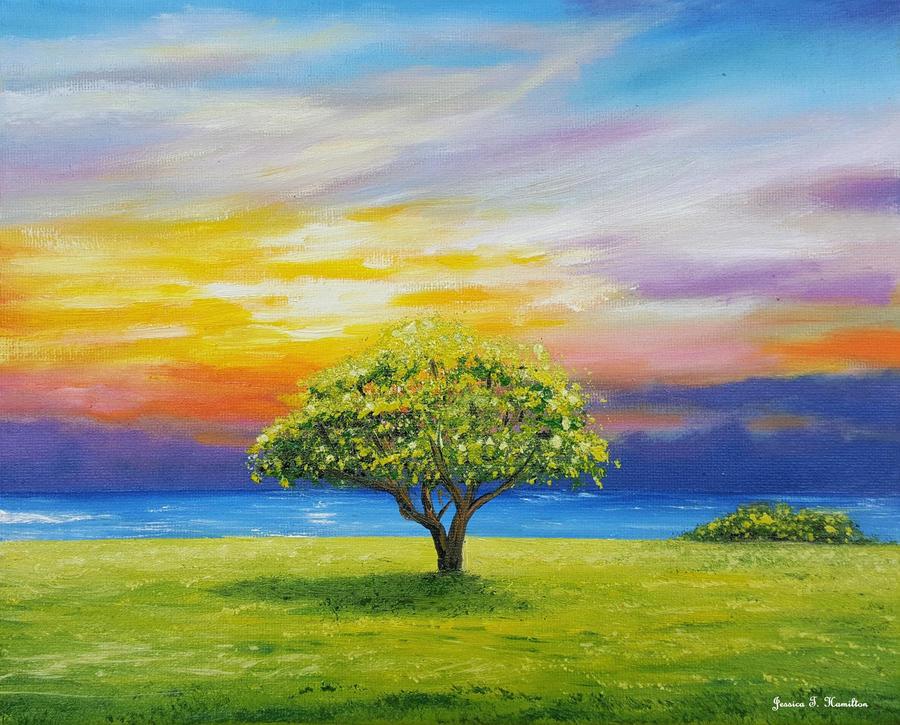 Tree by the Beach, Oil on Canvas, Jessica Hamilton by JessicaTHamilton