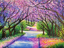 Path of Jacaranda Trees, Jessica Hamilton, Acrylic by JessicaTHamilton