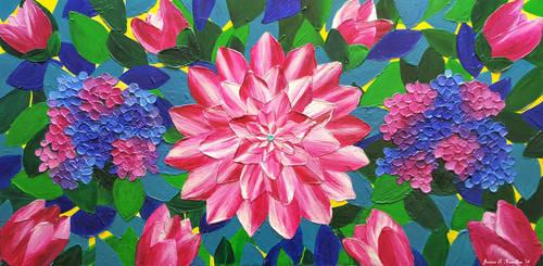 Dahlia and Hydrangeas, Acrylic, Jessica Hamilton