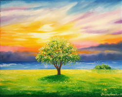 Tree By The Beach #2 Oil on Canvas by JessicaTHamilton