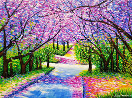 Path Of Jacaranda Trees #3, Acrylic on Canvas by JessicaTHamilton