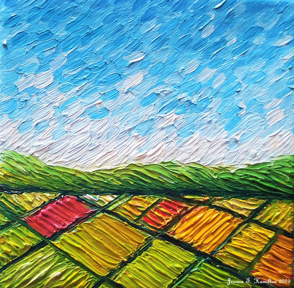 Fields from Above, Oil on Canvas
