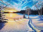 Winter's Glow, 16x12, Acrylic on Canvas
