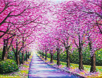 Path of Cherry Blossoms by JessicaTHamilton