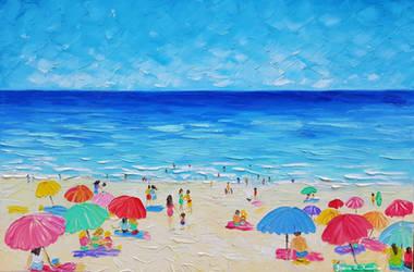 Day at the Beach, Oil on Canvas, Jessica Hamilton
